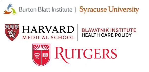 Syracuse, Harvard, and Rutgers universities' logos